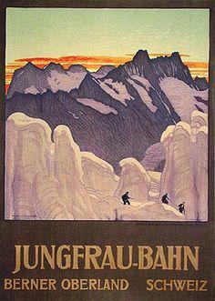 Jungfrau - Bahn Vintage Poster (artist: Cardinaux, Emil) Switzerland c. Saas Fee, Jazz Festival, Retro Poster, Vintage Posters, Royal Dutch, Museum, Free Canvas, Zermatt, Stock Art