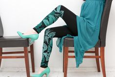 Emerald  black leggings with emerald green butterfly by ZIBtextile, $45.00