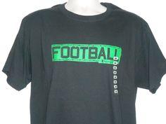 NEW~ CHAMPION Black & Green Football Cotton T-Shirt Men Size LARGE #Champion #GraphicTee