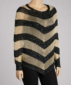 Take a look at this Black & Gold Stripe Metallic Cape-Sleeve Top by India Boutique on #zulily today!  $19.99