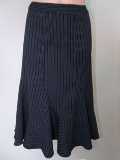 Jones New York Sz 10 Black/White Pin Striped Below Knee Length A-Line Skirt EUC #JonesNewYork #ALine