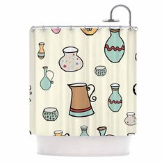 Kess InHouse Louise Jugs Pastel Pattern Shower Curtain