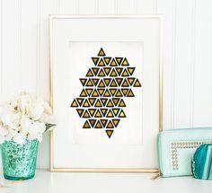Poster Print  Inca Tribe  8x10 or 11x14 For by PomGraphicDesign  #tribal #homedecor #decor #decorideas #minimaldecor #interiordesign #tribaldecor #minimal #minimaldecor #geometricdecor #geometric #Golden #Gold #Goldecor #elegantdecor