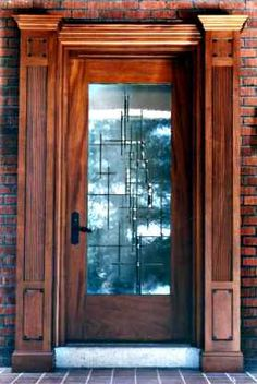 Contemporary Beveled Glass Door - beveled various angles on different thicknesses of glass - balanced, not symmetrical - Cain-White Architectural Art Glass Entry Doors With Glass, Glass Panel Door, Glass Front Door, Sliding Glass Door, Glass Panels, Front Doors, Stained Glass Door, Stained Glass Projects, Leaded Glass