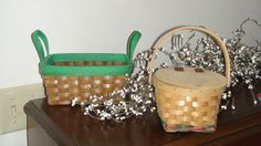 Baskets 2 wood hinged top on one one round one by HalosHome, $2.49