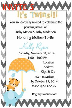 BABY ELEPHANTS BABY SHOWER INVITATION- TO FOLLOW ME ON FB PLEASE CLICK ON THE PHOTO TWICE