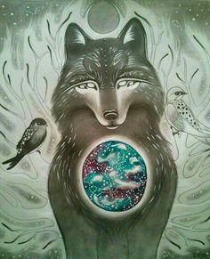 Wolf/tree swallows/stars/fantasy art