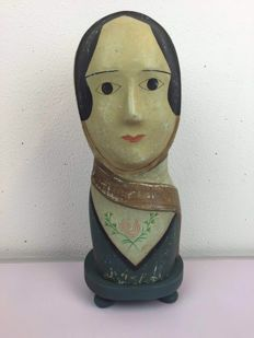 A moulded and painted papier-mache milliners head, French, approx. 1870-