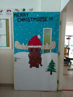 Merry Christmoose! Classroom door.