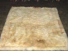 Soft baby alpaca fur carpet, natural white