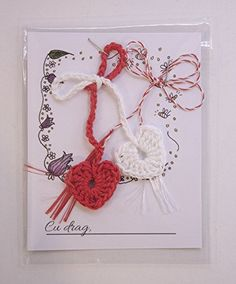 Martisor INIMI cu snur traditional rosu si alb, romanian martisor, Martenitsa, 1 Martie, 8 Martie, Ziua Mamei 8 Martie, Crochet Earrings, Traditional, Handmade, Hand Made, Craft, Handarbeit