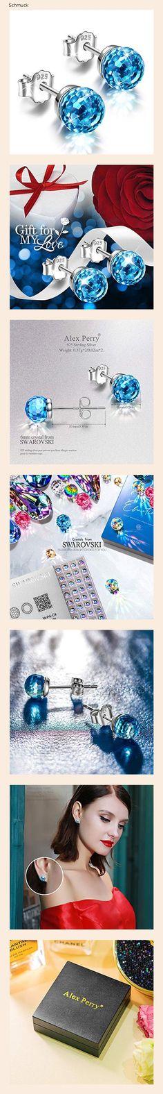 Alex Perry Muttertagsgeschenk 925 Sterling Silber Blaue Ohrringe Stud Silver für ihren Schmuck Frauen Kristalle von Swarovski für Mädchen Jubiläum Geburtstag - 14h6