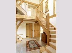 Oakwrights barn style oak framed homes gallery House Staircase, Staircases, Stairs, Staircase Ideas, Oak Framed Extensions, Oak Framed Buildings, Oak Frame House, Self Build Houses, Garden Architecture
