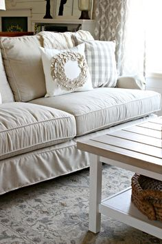 Our New Sofa {Birch Lane Montgomery Slipcovered Sofa}