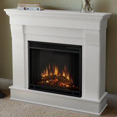 You'll love the Chateau Electric Fireplace at Wayfair - Great Deals on all Home Improvement products with Free Shipping on most stuff, even the big stuff. Gel Fireplace, White Fireplace, Fireplace Mantels, Farmhouse Fireplace, Fireplace Heater, Fireplace Outdoor, Fireplace Ideas, Fireplace Pictures, Fireplace Kitchen