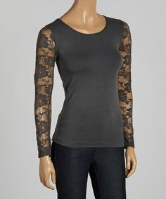 Look what I found on #zulily! Charcoal Sheer Lace Sleeve Top #zulilyfinds