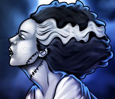 How to Draw the Bride of Frankenstein, Step by Step, Frankenstein, Monsters, FREE Online Drawing Tutorial, Added by Dawn, August 19, 2013, 3:43:18 pm