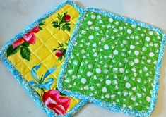 """pot holders using Insul-Bright... sandwich between fabric and sew 1"""" grid pattern, then use binding... read the post, it's helpful and the project is easy (I happen to have gotten a half yard Insul-bright on sale!)"""