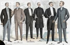 Tailor's Illustration of Six Men's Suits: Color lithograph illustration shows: a long roll frock (not to button); a three button sack; a tuxedo dress suit (no buttons, no outside pockets); a clerical suit; a full dress suit; and a Chesterfield. Circa 1890s-early 1900s.
