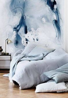 indigo blues watercolor wallpaper \ Bedroom Interior Design \ Home Decor