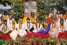 The Beatles and friends in the Meditation Academy, Rishikesh, India 1968