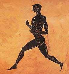 "This guy is Pheidippides an Athenian herald. He ran the 26 miles from the battlefield near the town of Marathon to Athens to announce the Greek victory over Persia in the Battle of Marathon (490 BC) with the word ""Νενικήκαμεν"" (Nenikékamen, 'We have won') and died on the spot."