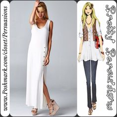 FINAL SALE🌻White Button Slit Maxi Tank Dress NWT White Button Slit Maxi Dress   Available in sizes: S, M, L Also available in gray Measurements available upon request   Features:  • relaxed, easy fit • very soft material with stretch • scooped neckline  • 5 button detailing at top of slit on left side of dress starting from the hip down • sleeveless   Material: 95% Rayon; 5% Spandex   Bundle discounts available  No pp or trades ~ Item # WMD5•81o1016MDW BLACK WHITE FLORAL STRIPED BLUSH SHIFT…