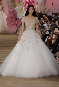 Ballgown with tulle bottom and sheer top | Ines Di Santo Spring 2017 | https://www.theknot.com/content/ines-di-santo-wedding-dresses-bridal-fashion-week-spring-2017