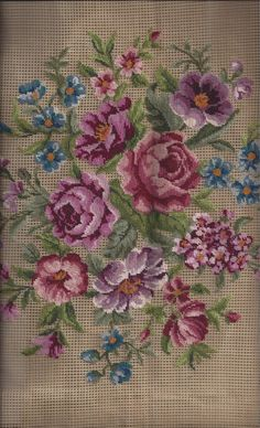 Pre-Worked Large Needlepoint Canvas featuring Beautiful Roses & Florals by Merino Wool Co, 27 x 27 Canvas Ribbon Embroidery, Cross Stitch Embroidery, Embroidery Patterns, Cross Stitch Patterns, Needlepoint Pillows, Needlepoint Canvases, Cross Stitch Rose, Cross Stitch Flowers, Seed Bead Flowers