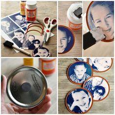 Des magnets mini cadres photo avec des couvercle de pot de confiture...