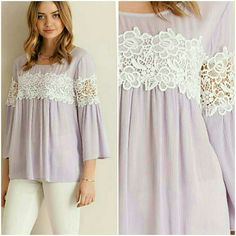 GORGEOUS LAVENDER & LACE TOP Solid trumpet sleeve top featuring lace & ruched detailing throughout. Single button closure on the back. Semi-sheer. Unlined. Light weight. 🎉 IT GIRL HOST PICK🎉 100%RAYON Available in small or medium 4 Bidden Boutique Tops Blouses