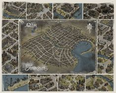 """- This is a concep art map from the imaginary city of Innsmouth created by H.Lovecraft as it appears in the novel """"The Shadow over Innsmouth"""". I take many details of the city from the roleplaying game by Chaosium, """"Escape from The Shadow Over Innsmouth, Fantasy Map Maker, Call Of Cthulhu, World Of Fantasy, City Maps, Pen And Paper, Cartography, Map Art, Dungeons And Dragons"""