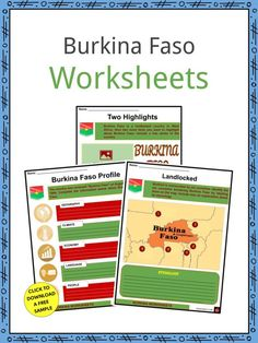 This is a fantastic bundle which includes everything you need to know about the Burkina Faso across 20 in-depth pages. These are ready-to-use Burkina Faso worksheets that are perfect for teaching students about the Burkina Faso which is a landlocked country in West Africa covering an area of around 274,200 square kilometers. Burkina is surrounded by six countries: Mali to the north and west; Niger to the east; Benin to the southeast; Togo to the southeast. Human Development Index, French West Africa, Geography Worksheets, History For Kids, Tourist Sites, Three Rivers, Countries Of The World, Students, Facts