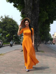 Orange Vietnam Ao Dai, Chiffon Dress, Pant, Short Sleeves, Neck, Arm Decoration #Handmade #Casual