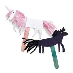 Trusty Steeds Puppets... download some MLP templates, let the kids color and assemble pony puppets?!?
