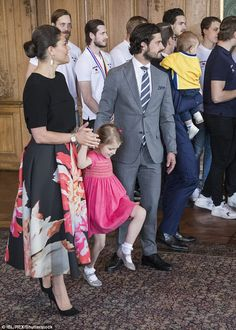 No standing on ceremony here! Princess Estelle was eager to play with her mother and uncle
