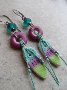 Tropical Tie Dye ... Polymer Clay Lampwork Tassel by juliethelen