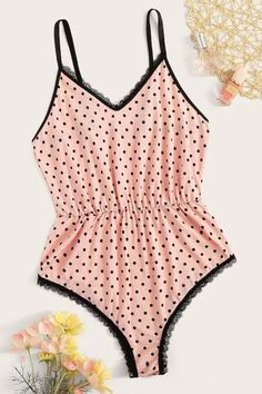 To find out about the Polka Dot Lace Trim Romper Bodysuit at SHEIN, part of our latest Sexy Lingerie ready to shop online today! Cute Sleepwear, Sleepwear Women, Lingerie Sleepwear, Nightwear, Jolie Lingerie, Women Lingerie, Sexy Lingerie, Cute Pajamas, Lingerie Collection