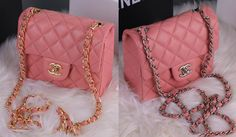 Chanel MINI CF Classic Flap Shoulder Bag A1115 Pink Lambskin Leather With Glod/Silver CC Chain/ATOHU