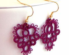 Tatted Lace Earrings - Your Color Choice - Made to Order
