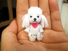 Mini White Poodle - Crochet Miniature Dog Stuffed Animals - Made To Order Havanese Puppies, Baby Puppies, Stuffed Animals, Miniature Dogs, Bead Sewing, Dog Items, Tiny Dolls, Crochet Animals, Little Dogs