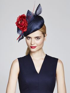 Jaunty navy cocktail hat by Julliette Millinery.