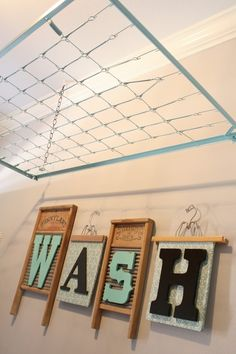 Crib Spring Drying Rack - cute idea.- would def. spray paint it to match the ceiling or other room colors.  I like the washboards, each with a different letter even better.