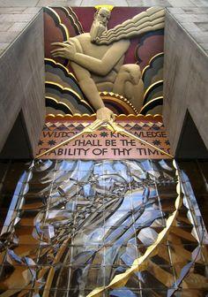 Portion of wisdom, with light and sound. Rockefeller Centre. New York City.