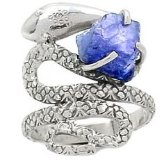 Snake-Tanzanite-Crystal-925-Sterling-Silver-Ring-Jewelry-s-8-5-SR146016