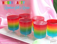 I'm going to show you step by step how easy it is to make these pretty gelatin cups so keep reading for my Unicorn Party Rainbow Jello Recipe.