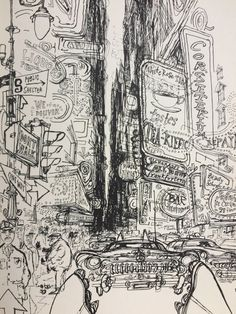 From 'Which Way Did He Go?', where Ronald Searle offers a collection of 'travel drawings', from England to France, New York, San Francisco, New Orleans, Las Vegas and Germany. Satiric, pitiless are his embodiments of native types, of visitors' response to strange environments, of local situations.