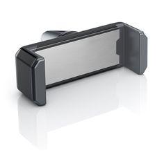 fixxo Universal KFZ-Handyhalter (schräg) in den Standardfraben, schwarzes Kunststoff-Gehäuse mit grauen Silikon-Backen und Aluminium-Frontplättchen
