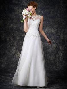 Sleeveless Illusison Neck Lace Appliqued Bodice A-line Tulle overlay Satin Wedding Dress