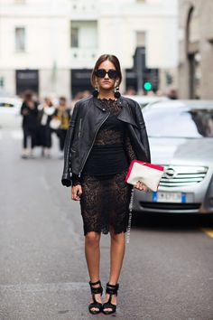 Tell me about your outfit, what you are wearing? - Im wearing a Dolce & Gabbana dress, jacket. Black Leather Biker Jacket, Black Leather Heels, Leather And Lace, Leather Jackets, Moto Jacket, Leather Clutch, White Leather, Motorcycle Jacket, Leather Pants